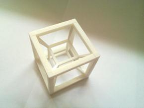 Hypercube in White Natural Versatile Plastic