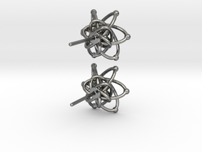 Carbon Atom Stud Earrings in Polished Silver