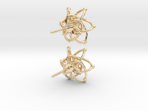 Carbon Atom Stud Earrings in 14K Yellow Gold
