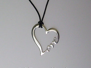 LOVE pendant in Polished Silver