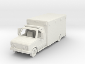 Ambulance 01. HO Scale (1:87) in White Natural Versatile Plastic