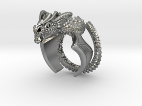 Flying scary Dragon ring in Natural Silver: 9 / 59