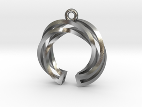 Twisted ring pendant with multiple branchs in Natural Silver
