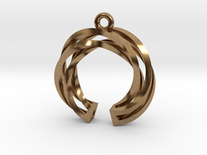 Twisted ring pendant with multiple branchs in Natural Brass