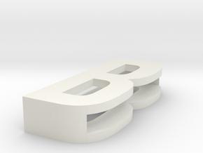CHOKER SLIDE LETTER B 1⅛, 1¼, 1½, 1¾, 2 inch sizes in White Natural Versatile Plastic: Medium