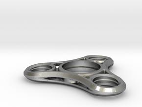 Tri Lobe Fidget Spinner - Micro Mini in Natural Silver