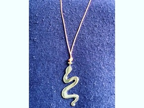 Rainbow Serpent Pendant in Polished Brass: Large
