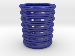 Shot glass 5 waves (Porcelian) in Gloss Cobalt Blue Porcelain