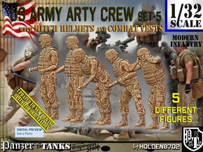 1/32 US Arty Crew Hot Weather Set5 in White Natural Versatile Plastic