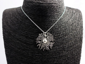 Dictyostelium pendant  in Polished Silver