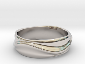 Ebb and Flow Ring No.1 - Gentle Curves, Size 7 in Platinum