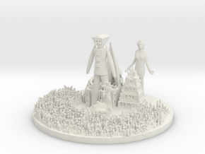 "Inspired by Burning Man 2015 4"" Snow Globe Base (V in White Natural Versatile Plastic"