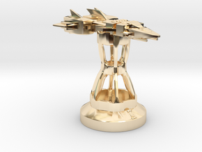 Endless Sky Chess: Frigate/Rook (Prototype) in 14k Gold Plated Brass