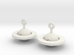 Saturn - Rotating Earrings (realistic scale) in White Premium Versatile Plastic