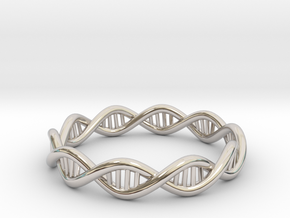 DNA Ring - Size 7 in Rhodium Plated Brass