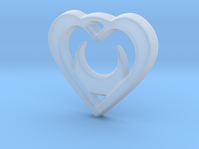 Crescent Moon Heart - 25mm Pendant in Smooth Fine Detail Plastic