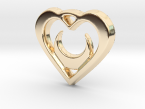 Crescent Moon Heart - 25mm Pendant in 14k Gold Plated Brass
