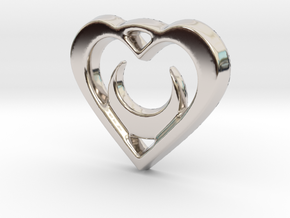 Crescent Moon Heart - 25mm Pendant in Rhodium Plated Brass