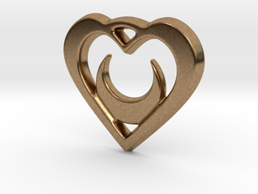 Crescent Moon Heart 35mm Pendant in Natural Brass