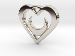 Crescent Moon Heart 35mm Pendant in Rhodium Plated Brass