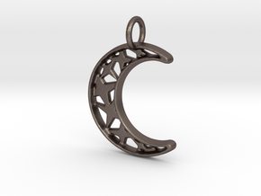 Glistening Moon 30mm Pendant in Polished Bronzed Silver Steel