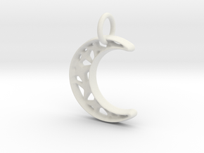 Glistening Moon 20mm Pendant in White Natural Versatile Plastic