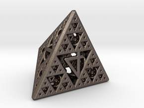 Mathematician's Dice D4 in Polished Bronzed Silver Steel