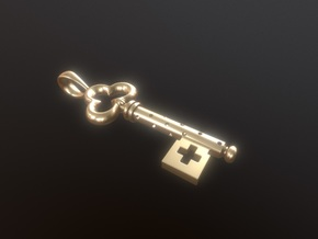 Key Pendant 2 in Natural Silver