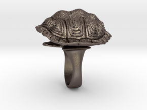 Turtle Shell Ring in Polished Bronzed Silver Steel: 5 / 49