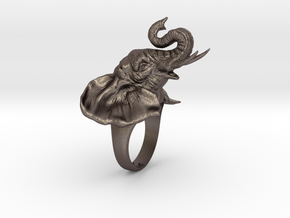 Elephant Ring in Polished Bronzed Silver Steel: 5 / 49