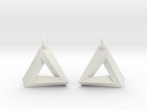 Penrose Triangle - Earrings (17mm | 1x mirrored) in White Premium Versatile Plastic