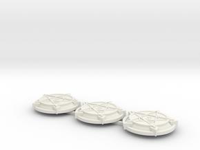 28mm/32mm Demon Summoning Circles (set of three)  in White Natural Versatile Plastic