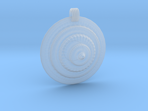 Fractal Round Pendant in Smooth Fine Detail Plastic
