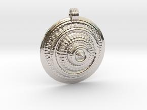 Fractal Round Pendant in Rhodium Plated Brass