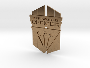 Off-World Officer Badge in Natural Brass
