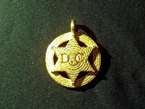 Small 6 point Sheriff's Star Pet Tag  in Polished Gold Steel