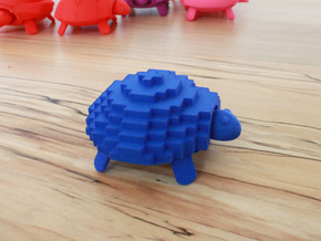 Squishy Turtle - Pixelated in Blue Processed Versatile Plastic