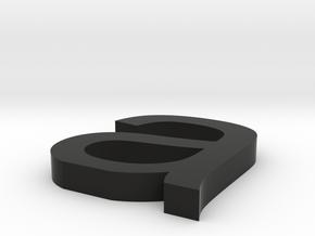 a Arial font letter in Black Natural Versatile Plastic