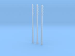 1/ 43 poteau électrique / electric pole (x3) in Smooth Fine Detail Plastic