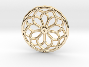 Mandala pendant or earrings with small dots in 14k Gold Plated Brass