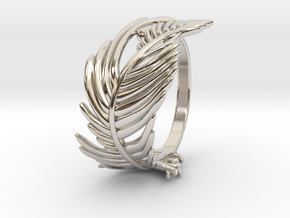 Feather Ring in Rhodium Plated Brass: 5 / 49