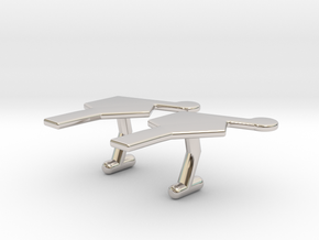 Nucleotide Cufflinks in Rhodium Plated Brass
