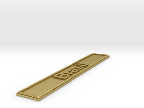 Nameplate Brasil in Natural Brass