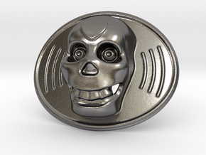 Skull Mexico Belt Buckle in Polished Nickel Steel