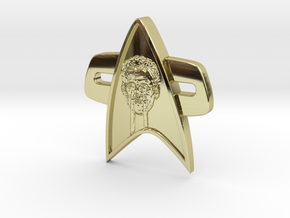 Phaser Eyes Corps Comm Badge in 18k Gold Plated Brass