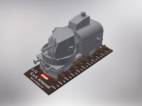 1/72nd scale Armoured traincar, gun carriage in Smooth Fine Detail Plastic