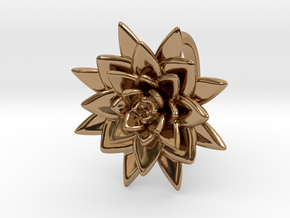 Succulent Blossom in Polished Brass