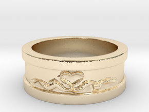 Heart Ribbon Valentine's Ring Size 8 in 14k Gold Plated Brass