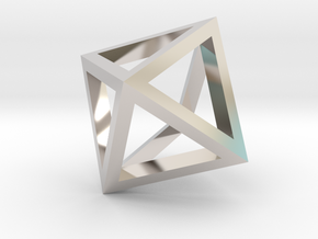 Octahedron mesh pendant in Platinum