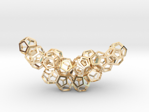 Dodecahedrons pendant in 14k Gold Plated Brass
